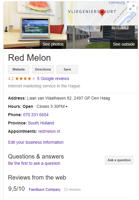Google Mijn Bedrijf Red Melon